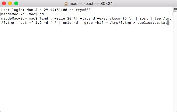 端末コマンドを使用して重複ファイルを見つける