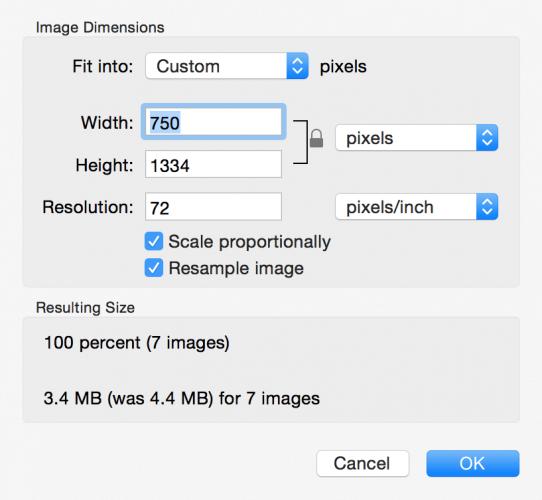 複数の画像のサイズを変更するMac