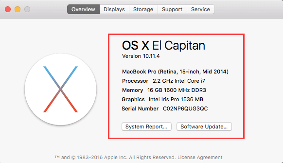 このMac OS X Elについて