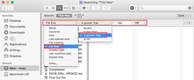 FinderでMac上の大きなファイルを見つける