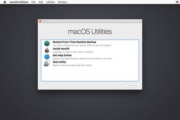 Macos Utilitiesウィンドウ
