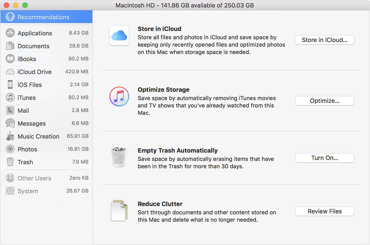 Macでサイズの大きなファイルを見つけるには、Reduce Clutterでファイルを確認します