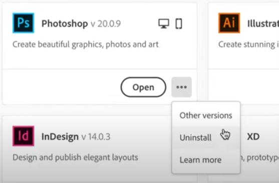 Adobe Creative CloudからPhotoshopをアンインストールします