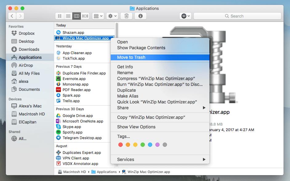 MacでWinZipを手動でアンインストールする方法