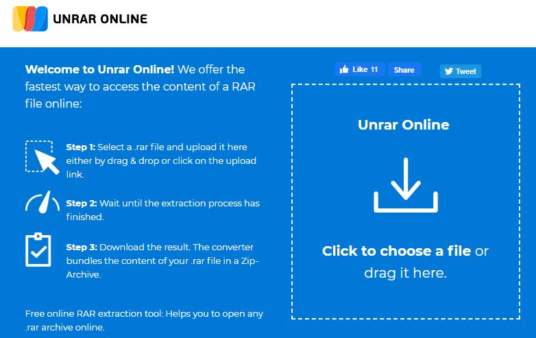 UNRAR Onlineを使用してMacでRARファイルを開く