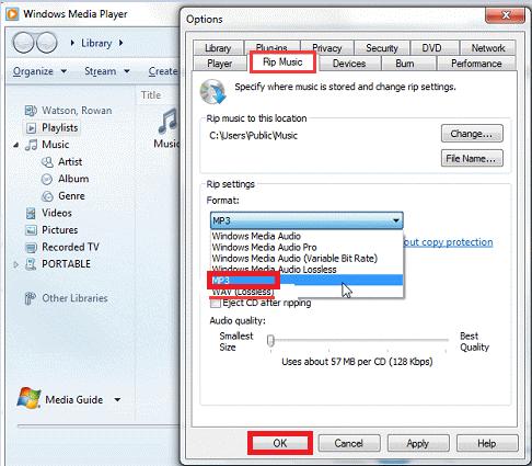 Windows MediaPlayerでWMAをMP3に変換する